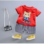 **ชุดเซ็ตกางเกงขาสั้นรูปหมีน้อย | แดง | 90-90-120-120 | 4ชุด/แพ๊ค | เฉลี่ย 120/ชุด
