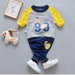 **ชุดเซ็ต Happy 99 นกฮูกสีเทา กางเกงยาวสีน่ำเงิน size= 55-60-65-70 | 4ชุด/แพ๊ค | เฉลี่ย 150/ชุด