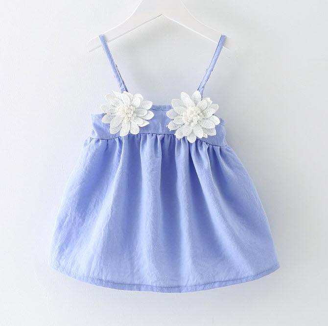 **เสื้อสายเดี่ยวดอกไม้2ดอก | สีฟ้าโทนเทา | 5-7-9-11 | 4ชุด/แพ๊ค | เฉลี่ย 130/ชุด