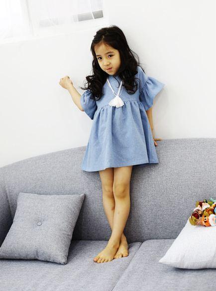**เดรสสีฟ้า(แพ็คซอง) | ฟ้า | 100-120-130 | 3ชุด/แพ๊ค | เฉลี่ย 160/ชุด