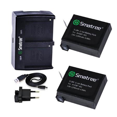 A2C-006 - Charger GoPro 4-2 Set kit 1290mAh 2 Channel Hero4 (5 pcs) ไม่มีที่ชาร์จในรถ