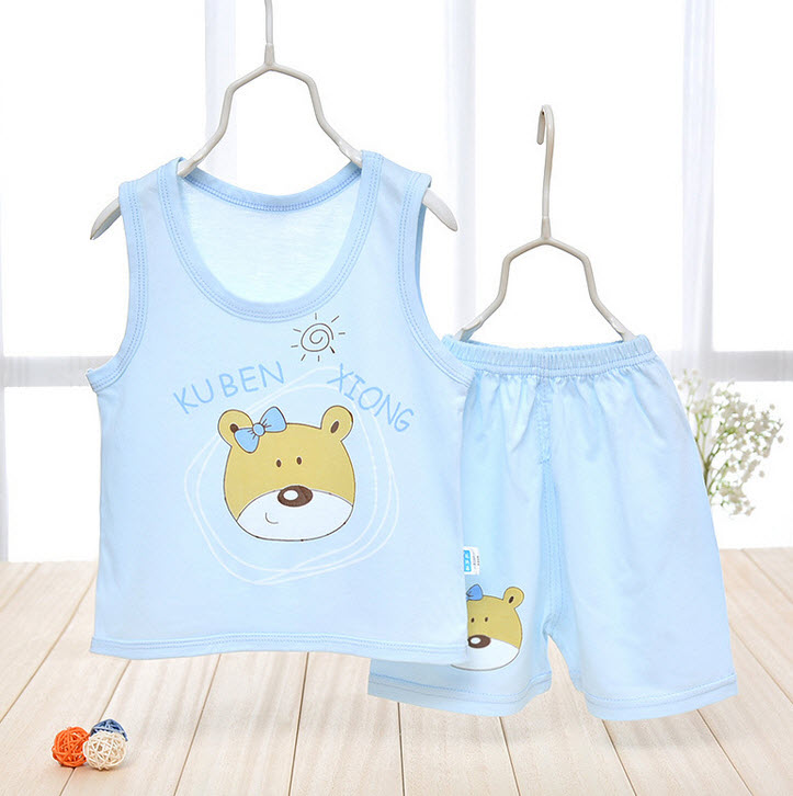 **ชุดเซ็ตเสื้อกล้ามเด็กเล็กหมี KUBEN | ฟ้า | 50-55-60-65 | 4ชุด/แพ๊ค | เฉลี่ย 125/ชุด