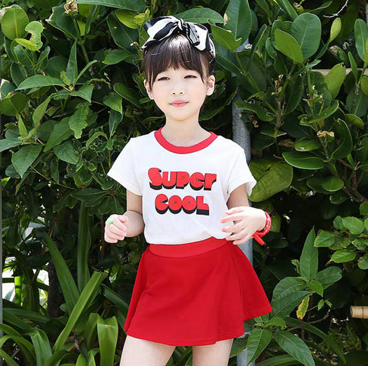 **ชุดเซ็ต Super Cool กระโปรง | แดง | 100-130 | 4ชุด/แพ๊ค | เฉลี่ย 185/ชุด