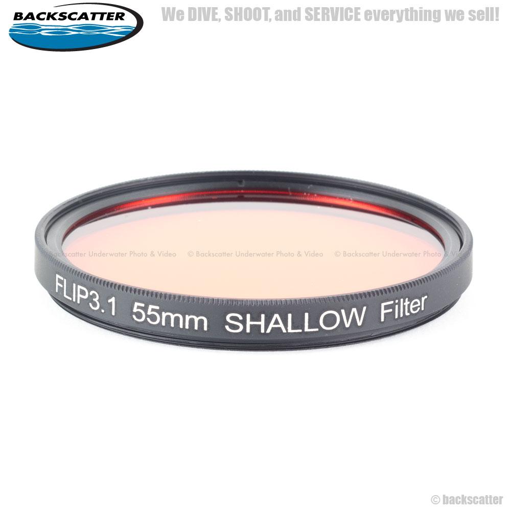 Flip3.1 Shallow Filter หน้า 55mm (Red Filter สำหรับดำน้ำตื้น) ความลึก 5-20 feet สำหรับกล้อง GoPro Hero4, Hero3+, Hero3
