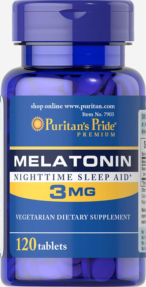 ลด 30 % PURITAN'S PRIDE :: MELATONIN 3 mg เมลาโทนิน 3 มิลลิกรัม 120-240 เม็ด ผ่อนคลาย แก้ปัญหา นอนไม่หลับ ต่อต้านอนุมูลอิสระ เลือกขนาดด้านใน
