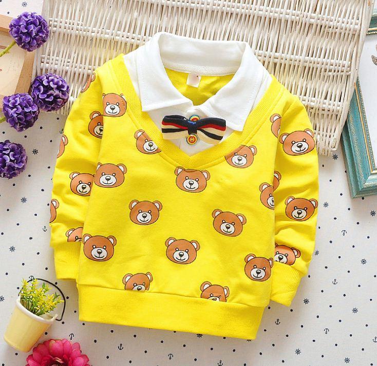 **เสื้อแขนยาวรูปหน้าหมีคอปกหูกระต่าย(เสื้อติด) | เหลือง | S-XL | 4ตัว/แพ๊ค | เฉลี่ย 150/ตัว