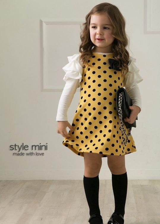**เดรสแขนยาวสีเหลืองลายจุดสีดำตามรูป size:100-140 (5 set/pack) | 5ชุด/แพ๊ค | เฉลี่ย 180/ชุด