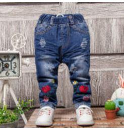 **กางเกงยีนต์ขายาวรูปดอกกุหลาบตรงขา 6-8-10-12-14 (5 pcs/pack) | 5ตัว/แพ๊ค | เฉลี่ย 165/ตัว