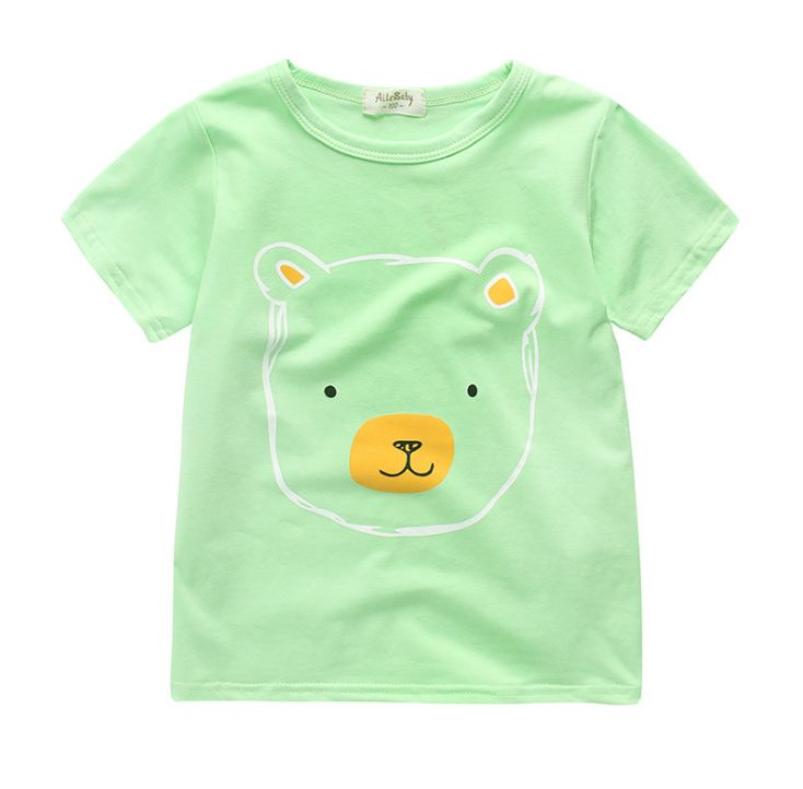 **เสื้อยืดหน้าหมีน้อยตามรูป สีเขียวอ่อน 90-130 | 5ตัว/แพ๊ค | เฉลี่ย 70 /ตัว