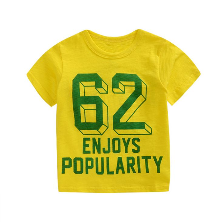 **เสื้อยืดลาย 62 สีเหลือง size: 100-140 (5pcs/pack)   5ตัว/แพ๊ค   เฉลี่ย 70/ตัว
