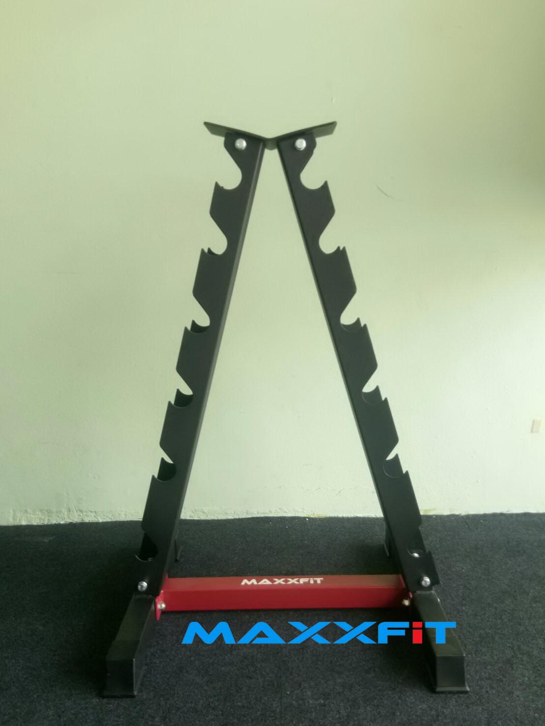 ขาย ขาตั้งดัมเบลทรงสามเหลี่ยม 6 คู่ สีดำ-แดง MAXXFiT รุ่น RK306 A