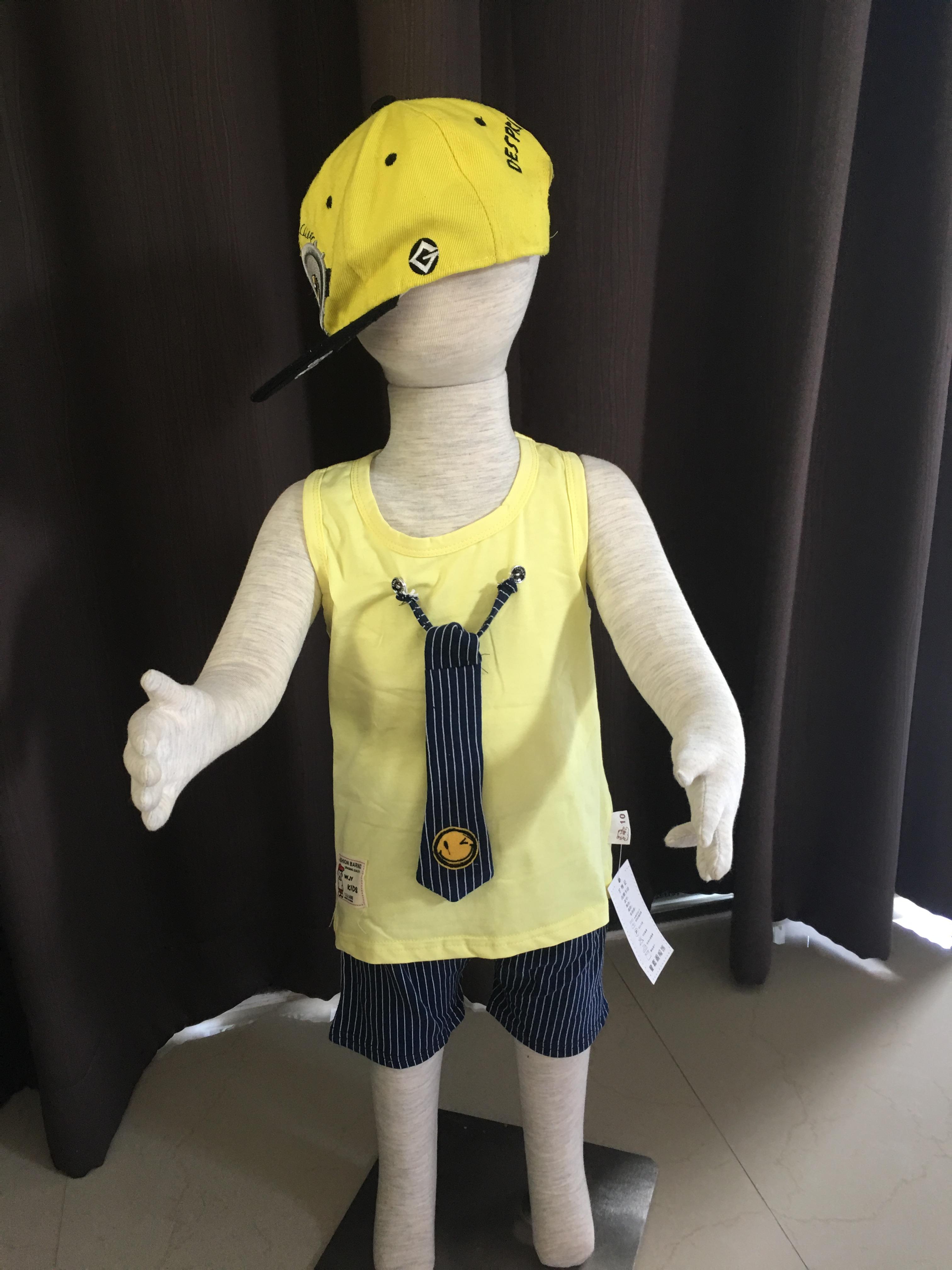 **ชุดเซ็ตกางเกงแขนกุดสีเหลือง+เน็คไทแบบตามรูป |เสื้อเป็นสีเหลือง | S-XL | 4ชุด/แพ๊ค | เฉลี่ย 160/ชุด