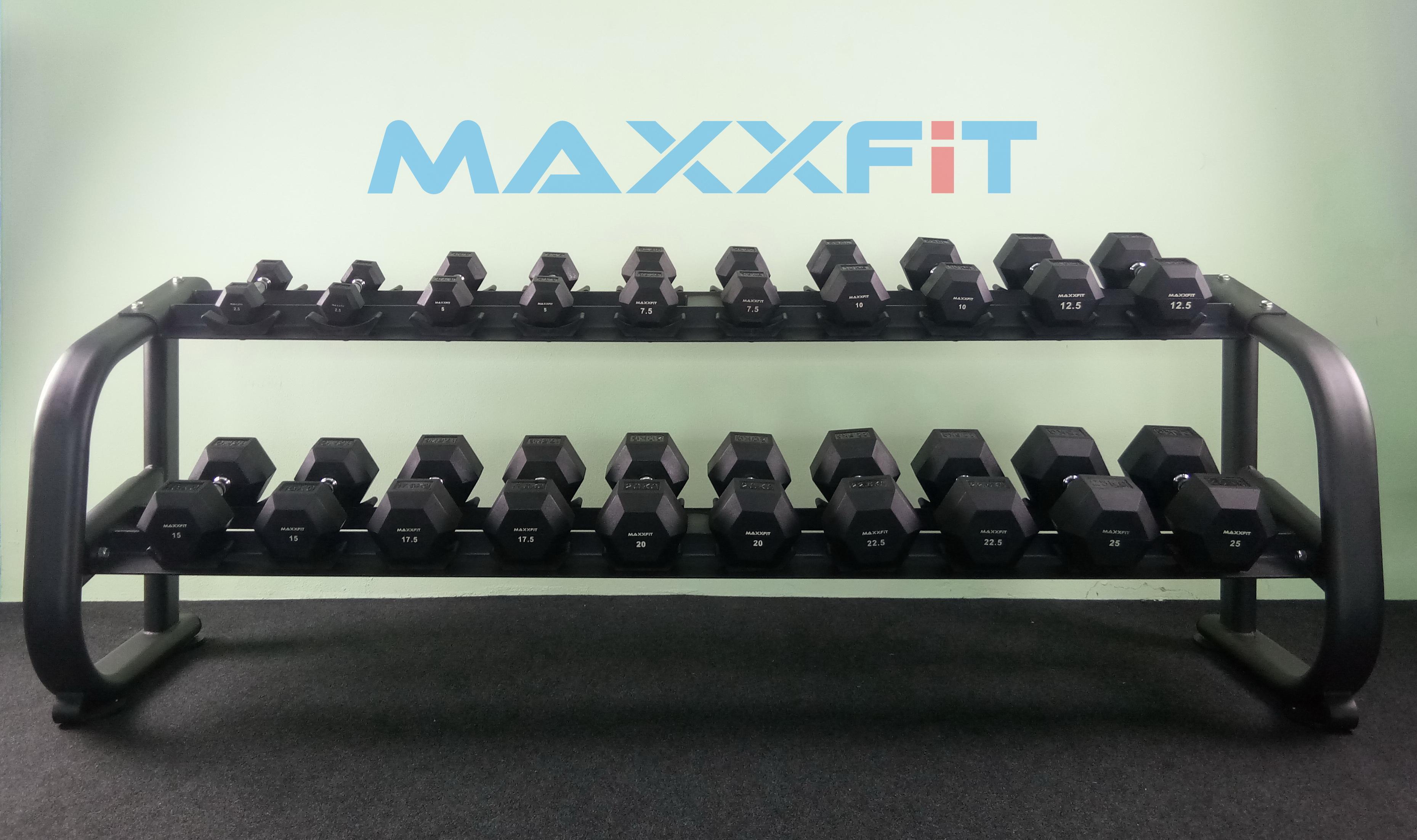 ชุดดัมเบล MAXXFiT ทรงเหลี่ยม ขนาด 2.5 - 25 KG. (10 คู่) พร้อมชั้นวาง 2 ชั้น 10 คู่ สีดำ RK 1304