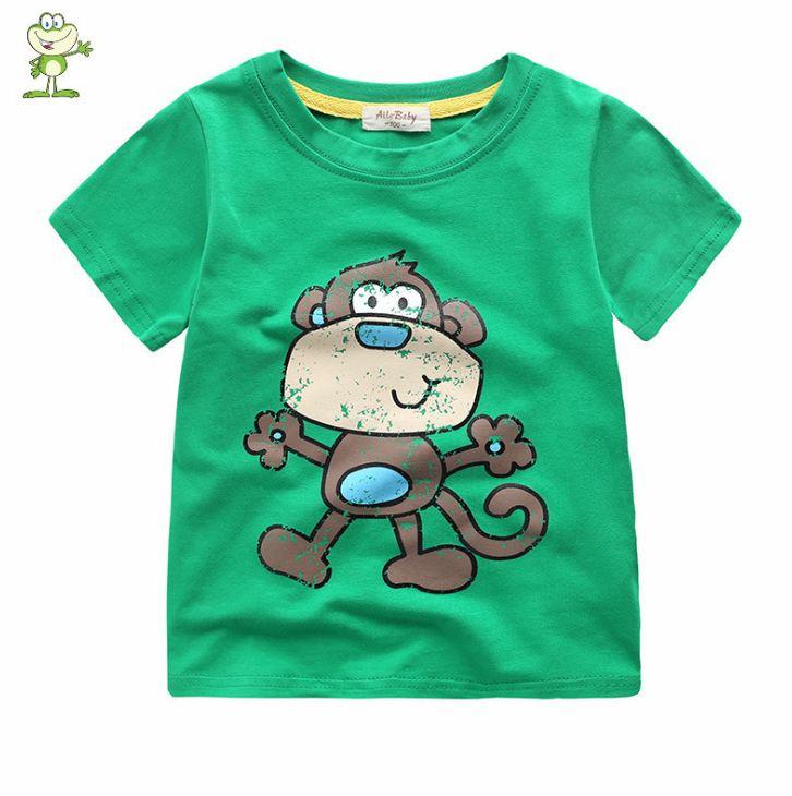 **เสื้อยืดรูปลิงน้อย สีเขียวเข้ม 90-130 (5pcs/pack) | 5ตัว/แพ๊ค | เฉลี่ย 85/ตัว