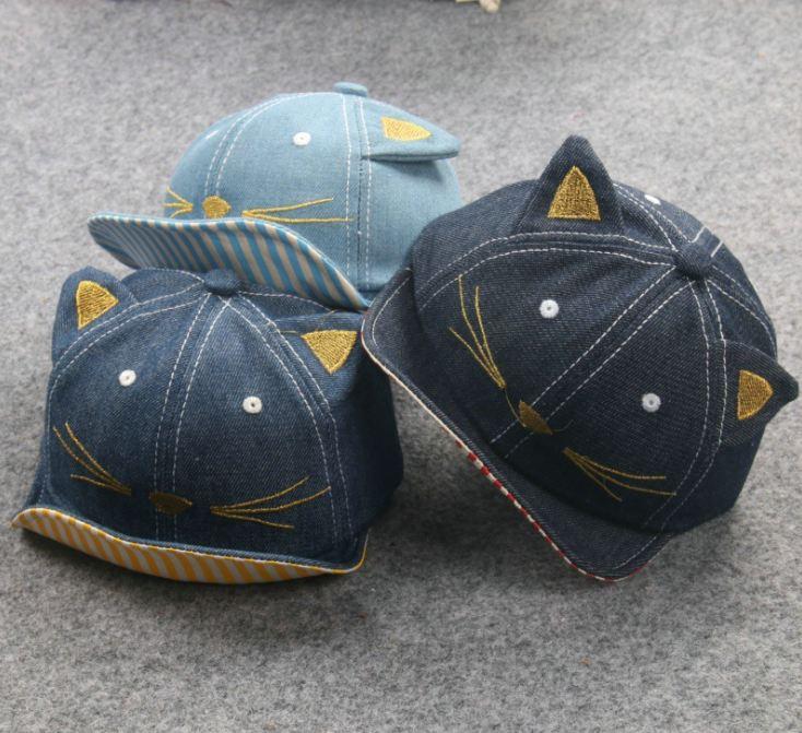 **หมวกแมวน้อยผ้ายีนต์ เข้ม,อ่อน,น้ำเงิน (6 pcs/pack)   6ใบ/แพ๊ค   เฉลี่ย 70/ใบ