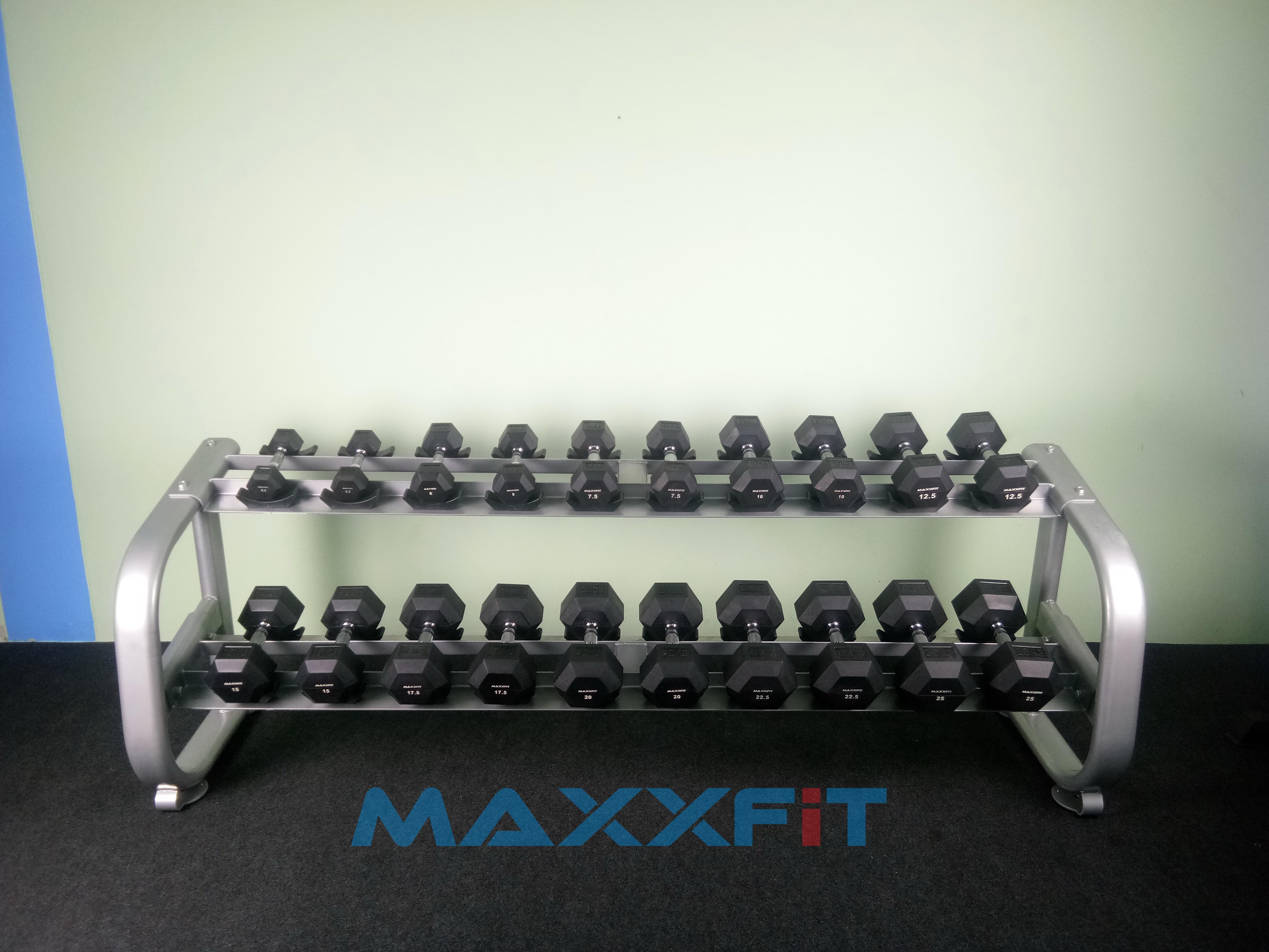 ชุดดัมเบล MAXXFiT ทรงเหลี่ยม ขนาด 2.5 - 25 KG. (10 คู่) พร้อมชั้นวาง 2 ชั้น 10 คู่ สีเงิน RK 1304