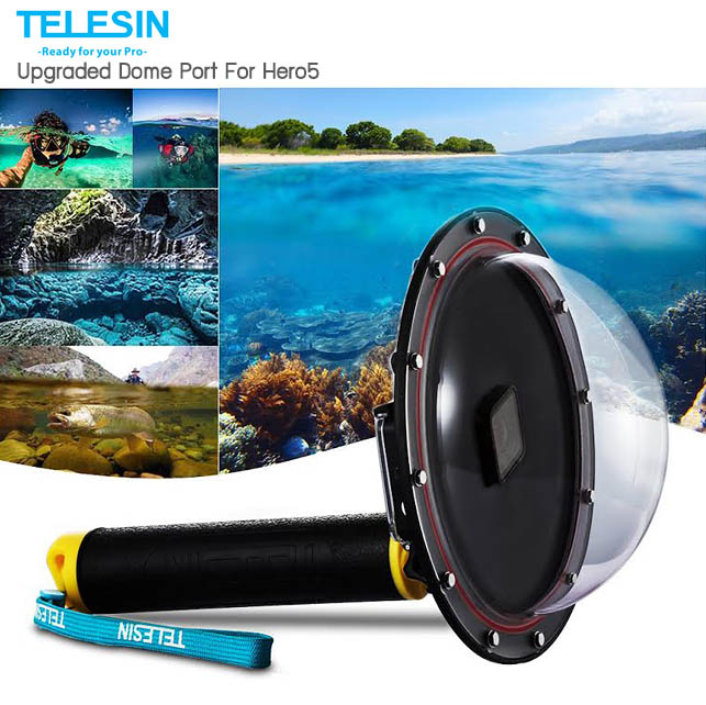 "Telesin Dome Port 6"" สำหรับกล้อง Hero5, Hero6 Black เหมาะสำหรับถ่ายครึ่งบกครึ่งน้ำ"