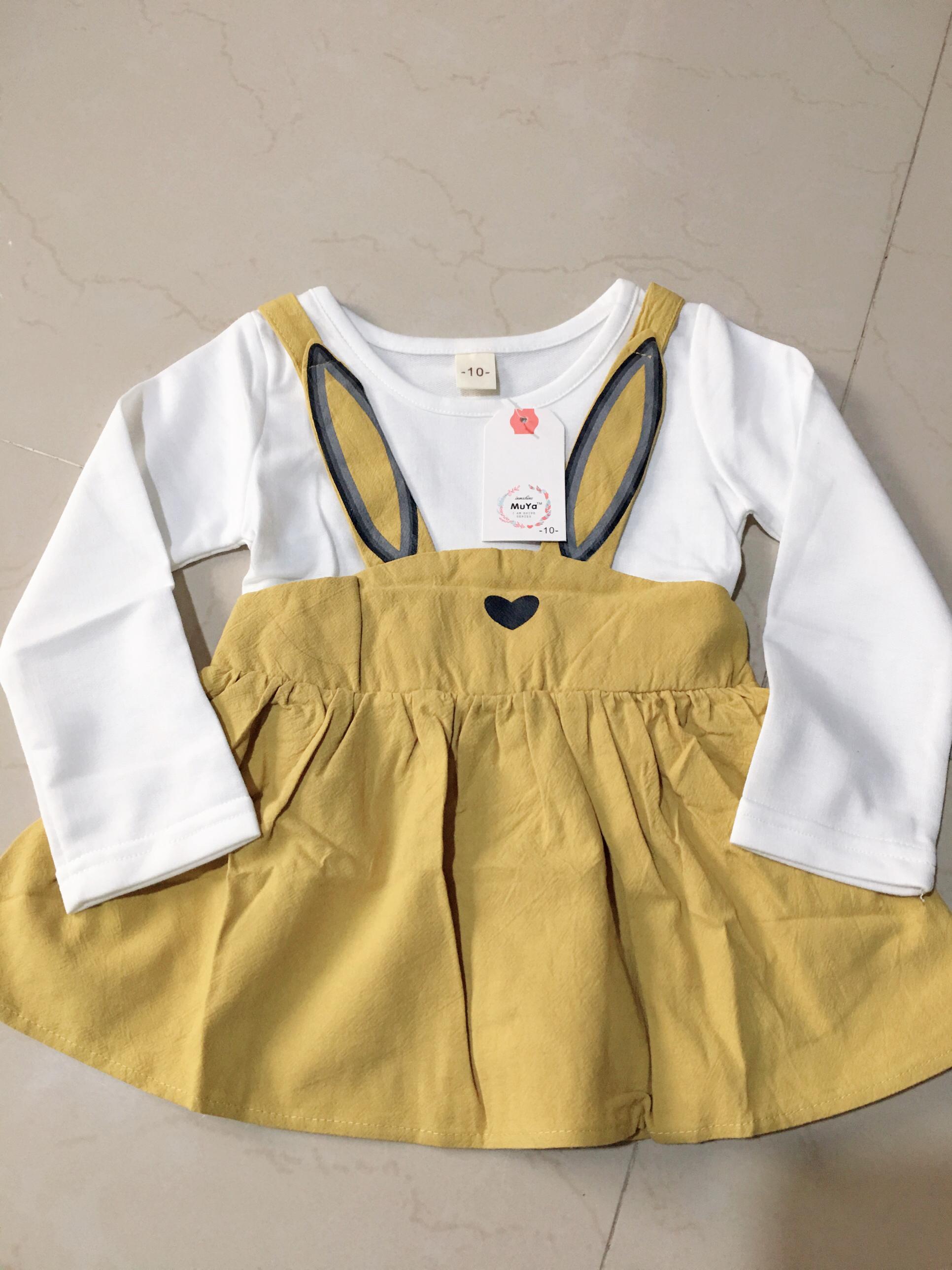 **เดรสเสือขาวหูกระต่ายสีเหลืองฟักทอง | สีเหลืองฟักทอง | 6-8-10-12 | 4ชุด/แพ๊ค | เฉลี่ย 150/ชุด