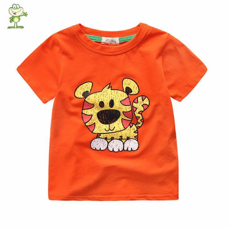 **เสื้อยืดรูปเสือน้อย สีส้ม 90-130 (5pcs/pack) | 5ตัว/แพ๊ค | เฉลี่ย 85/ตัว