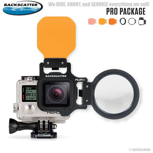 FLIP4 Pro Package with SHALLOW, DIVE & DEEP Filters & +15 MacroMate Mini Lens for GoPro 3, 3+, 4 Completed Set