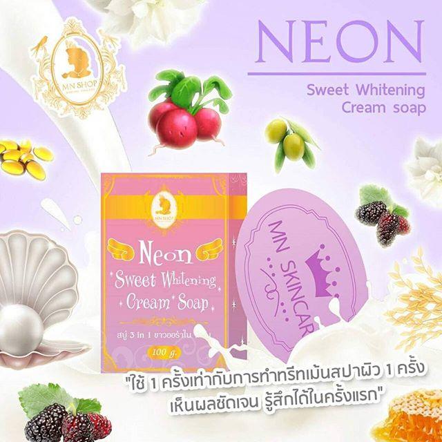 สบู่นีออน สวีทไวท์เทนนิ่ง ครีม (Neon Sweet Whitening Cream Soap by MN SHOP)