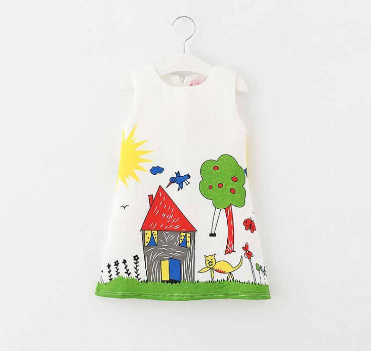 **เดรสสีขาวรูปบ้านต้นไม้ตามรูป size:100-140 (5 set/pack) | 5ชุด/แพ๊ค | เฉลี่ย 200/ชุด