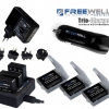 FREEWELL CHARGING KIT FOR GOPRO 3/3+/4 WITH BATTERY x 3PCS