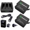 Smatree Charger 3 Channelพร้อมแบตเตอรี่ 1220mAh จำนวน 2 ก้อน สำหรับกล้อง GoPro Hero 5 Black ชุดใหญ่แบบเซ็ท ราคาถูก