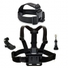Smatree® Head Strap Belt Mount+Chest Belt Strap Harness Mount+Aluminum Thumbscrew+J-Hook for Gopro HD Hero4 Hero3+ Hero3 Hero2 Hero, SJ4000,SJ5000 cameras Adjustable (Black)