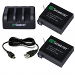 SM-004 Smatree Charger 3 Channel พร้อมแบตเตอรี่ 1290mAh 2 ก้อน ชุดประหยัด ราคาถูก สำหรับกล้อง Hero4 Silver,Black