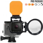 FLIP5 Pro Package with SHALLOW, DIVE & DEEP Filters & +15 MacroMate Mini Lens เป็น Red Filter และ Lens Macro สำหรับกล้อง GoPro Hero5 ฺBlack, 4, 3, 3+