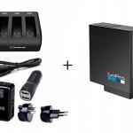 Smatee Charger 3 Channal สามารถชาร์จได้ 3 ช่อง + Adapter Wall Cahrge Plug + แบตเตอรี่ GoPro Hero5 แท้ 1 ก้อน Full Set