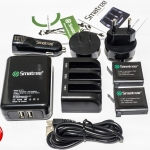 ชุด Smatree 3-Channel Charger and Battery Set Kit แบตเตอรี่ความจุ 1290mAh สำหรับกล้อง GoPro Hero4 รุ่น Black และ รุ่น Silver